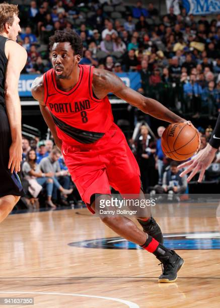 AlFarouq Aminu of the Portland Trail Blazers handles the ball against the Dallas Mavericks on April 3 2018 at the American Airlines Center in Dallas...