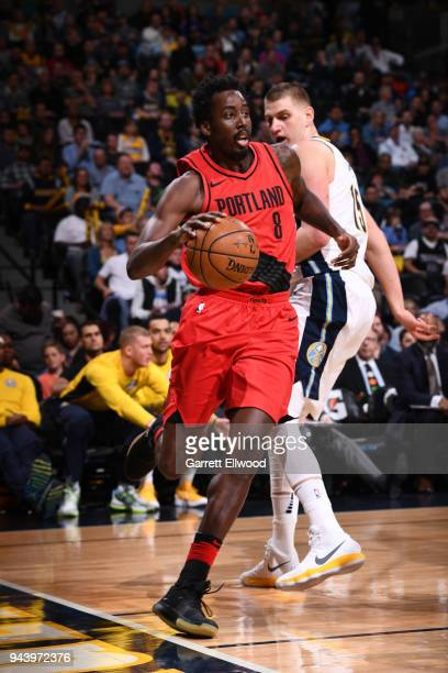 AlFarouq Aminu of the Portland Trail Blazers handles the ball against the Denver Nuggets on APRIL 9 2018 at the Pepsi Center in Denver Colorado NOTE...