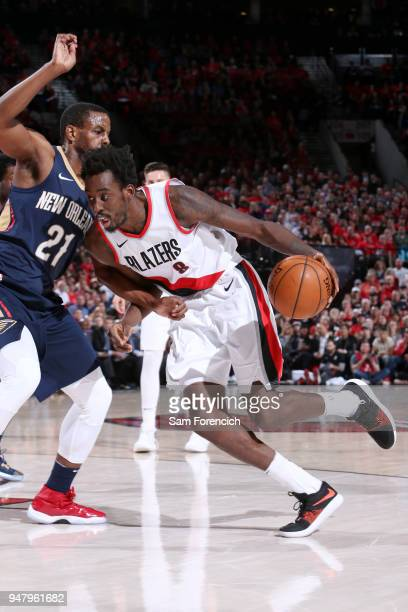 AlFarouq Aminu of the Portland Trail Blazers handles the ball against the New Orleans Pelicans in Game Two of Round One of the 2018 NBA Playoffs on...