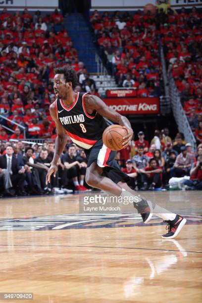 AlFarouq Aminu of the Portland Trail Blazers handles the ball against the New Orleans Pelicans in Game Four of Round One of the 2018 NBA Playoffs on...