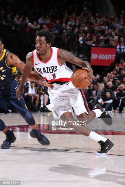 AlFarouq Aminu of the Portland Trail Blazers handles the ball during the game against the Indiana Pacers on January 18 2018 at the Moda Center in...
