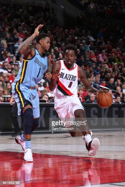 AlFarouq Aminu of the Portland Trail Blazers handles the ball during the game against the Memphis Grizzlies on April 1 2018 at the Moda Center Arena...