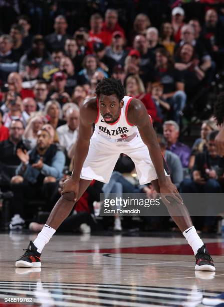 AlFarouq Aminu of the Portland Trail Blazers looks on during the game against the New Orleans Pelicans in Game One of the Western Conference...