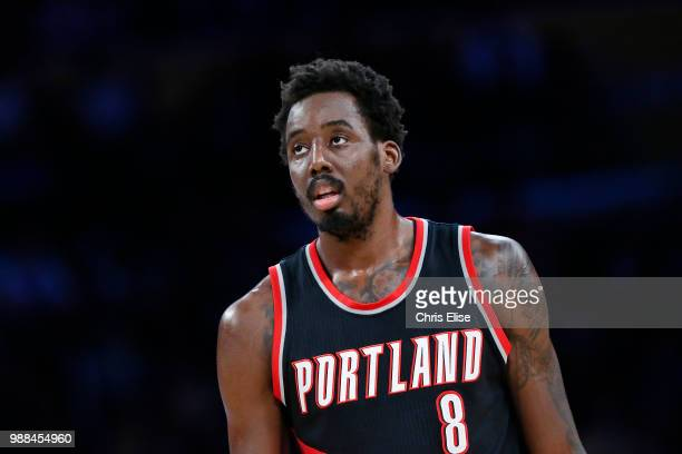 AlFarouq Aminu of the Portland Trail Blazers looks on during the game against the Los Angeles Lakers on March 26 2017 at STAPLES Center in Los...