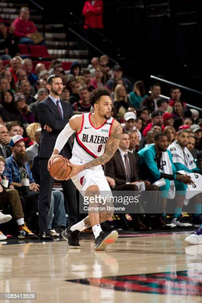 AlFarouq Aminu of the Portland Trail Blazers looks to passes the ball against the Charlotte Hornets on January 11 2019 at the Moda Center Arena in...