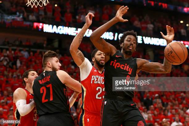 AlFarouq Aminu of the Portland Trail Blazers looses the ball during Game 3 of the Western Conference playoffs against the New Orleans Pelicans at the...