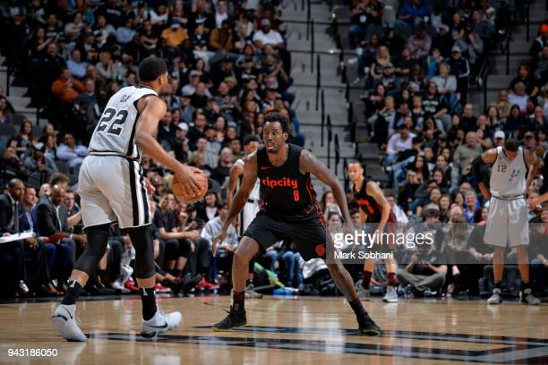 AlFarouq Aminu of the Portland Trail Blazers plays defense against the San Antonio Spurs on April 7 2018 at the ATT Center in San Antonio Texas NOTE...