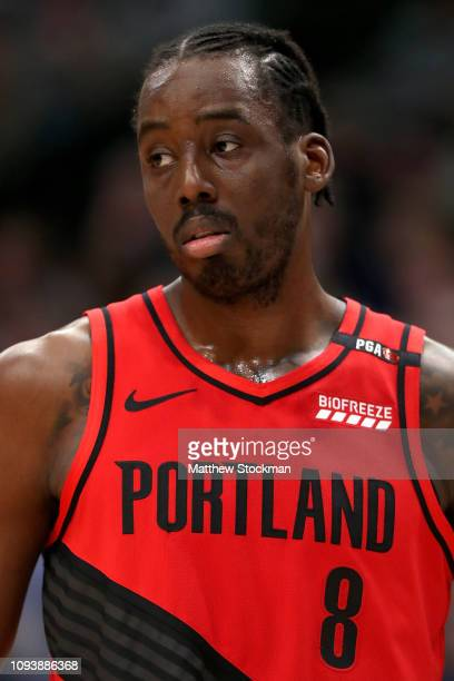 AlFarouq Aminu of the Portland Trail Blazers plays the Denver Nuggets at the Pepsi Center on January 13 2019 in Denver Colorado NOTE TO USER User...