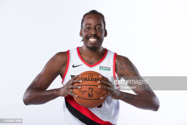 AlFarouq Aminu of the Portland Trail Blazers poses for a portrait during Media Day on September 24 2018 at the Memorial Coliseum in Portland Oregon...