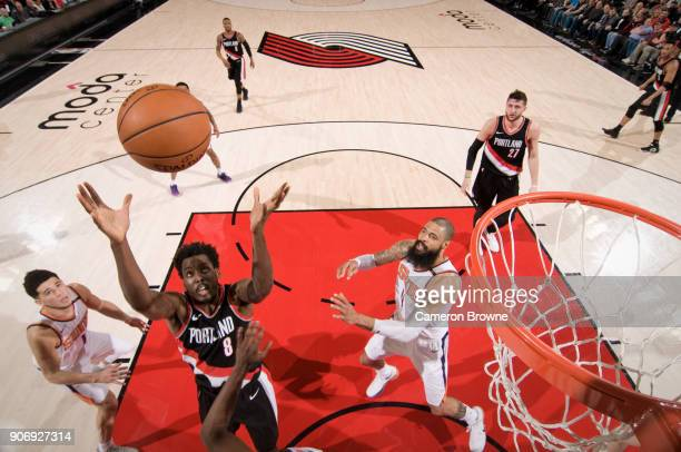 AlFarouq Aminu of the Portland Trail Blazers rebounds the ball during the game against the Phoenix Suns on January 16 2018 at the Moda Center Arena...