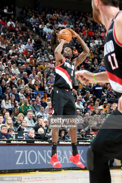 AlFarouq Aminu of the Portland Trail Blazers shoots a three point basket during the game against the Utah Jazz on January 21 2019 at vivintSmartHome...