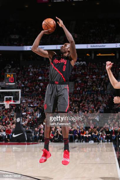 AlFarouq Aminu of the Portland Trail Blazers shoots a threepointer during the game during the game against the New Orleans Pelicans on January 18...