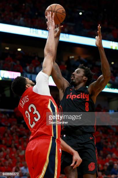 AlFarouq Aminu of the Portland Trail Blazers shoots over Anthony Davis of the New Orleans Pelicans during Game 3 of the Western Conference playoffs...