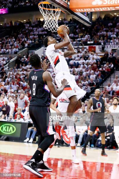 AlFarouq Aminu of the Portland Trail Blazers shoots the ball against the LA Clippers in Game Four of the Western Conference Quarterfinals during the...
