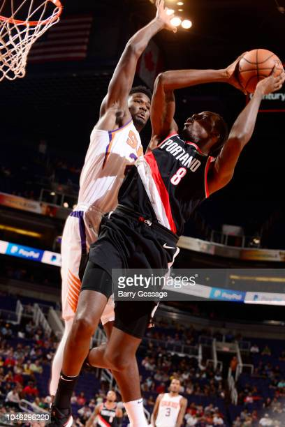 AlFarouq Aminu of the Portland Trail Blazers shoots the ball against the Phoenix Suns during a preseason game on October 5 2018 at Talking Stick...