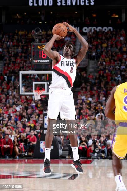 AlFarouq Aminu of the Portland Trail Blazers shoots the ball against the Los Angeles Lakers on October 18 2018 at the Moda Center in Portland Oregon...