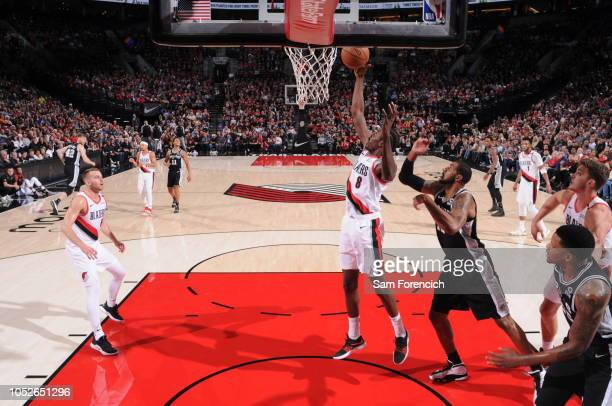 AlFarouq Aminu of the Portland Trail Blazers shoots the ball against the San Antonio Spurs on October 20 2018 at the Moda Center in Portland Oregon...