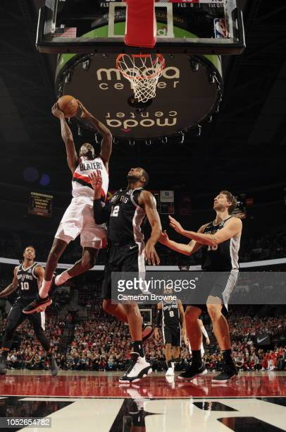 AlFarouq Aminu of the Portland Trail Blazers shoots the ball against the San Antonio Spurs during a game on October 20 2018 at Moda Center in...