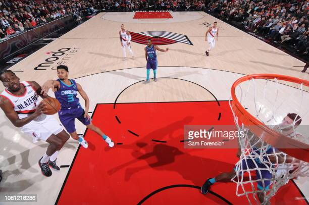 AlFarouq Aminu of the Portland Trail Blazers shoots the ball against the Charlotte Hornets on January 11 2019 at the Moda Center Arena in Portland...