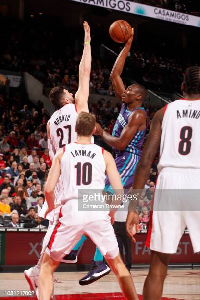 AlFarouq Aminu of the Portland Trail Blazers shoots the ball against the Portland Trail Blazers on January 11 2019 at the Moda Center Arena in...