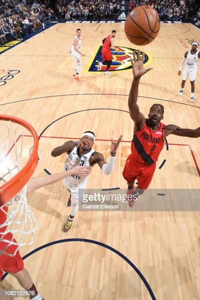 AlFarouq Aminu of the Portland Trail Blazers shoots the ball against the Denver Nuggets on January 13 2019 at the Pepsi Center in Denver Colorado...