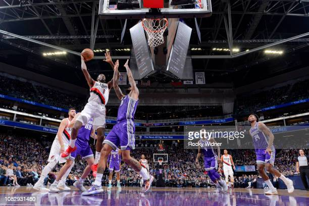 AlFarouq Aminu of the Portland Trail Blazers shoots the ball against the Sacramento Kings on January 14 2019 at Golden 1 Center in Sacramento...