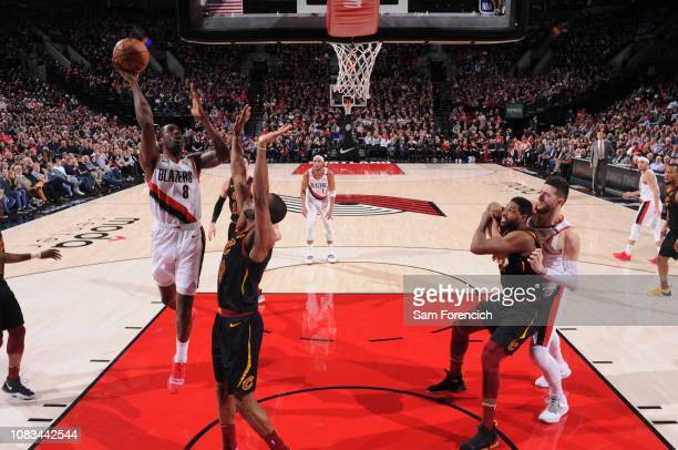 AlFarouq Aminu of the Portland Trail Blazers shoots the ball against the Cleveland Cavaliers on January 16 2019 at the Moda Center Arena in Portland...