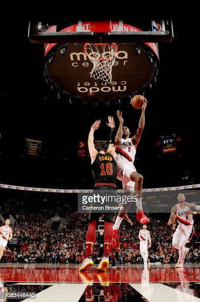AlFarouq Aminu of the Portland Trail Blazers shoots the ball against the Cleveland Cavaliers on January 16 2019 at the Moda Center in Portland Oregon...