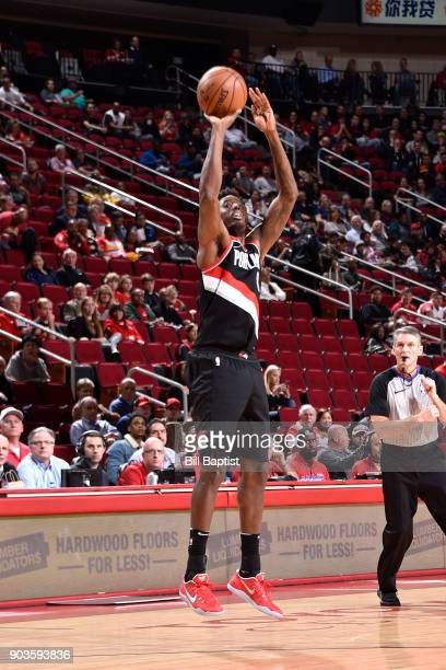 AlFarouq Aminu of the Portland Trail Blazers shoots the ball against the Houston Rockets on January 10 2018 at the Toyota Center in Houston Texas...