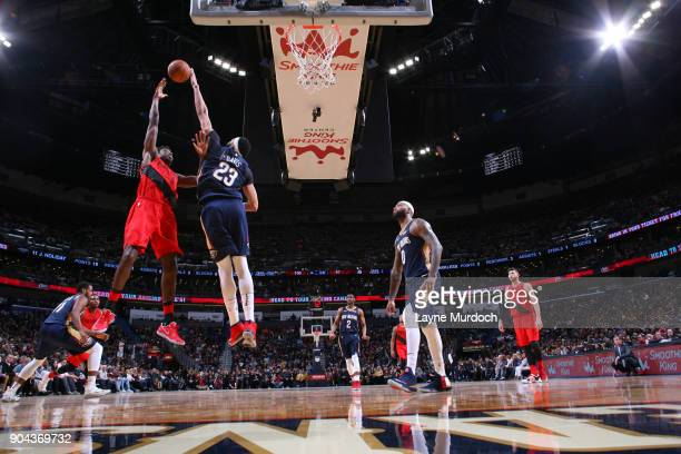AlFarouq Aminu of the Portland Trail Blazers shoots the ball against the New Orleans Pelicans on January 12 2018 at the Smoothie King Center in New...