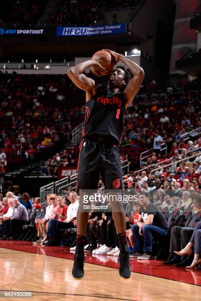 AlFarouq Aminu of the Portland Trail Blazers shoots the ball against the Houston Rockets on April 5 2018 at the Toyota Center in Houston Texas NOTE...