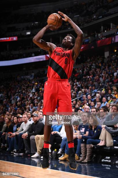 AlFarouq Aminu of the Portland Trail Blazers shoots the ball against the Denver Nuggets on APRIL 9 2018 at the Pepsi Center in Denver Colorado NOTE...