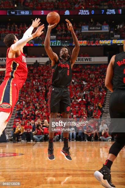 AlFarouq Aminu of the Portland Trail Blazers shoots the ball against the New Orleans Pelicans in Game Three of Round One of the 2018 NBA Playoffs on...