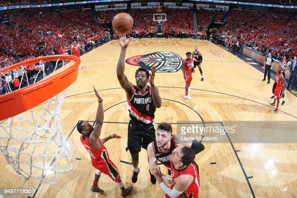 AlFarouq Aminu of the Portland Trail Blazers shoots the ball against the New Orleans Pelicans in Game Four of Round One of the 2018 NBA Playoffs on...