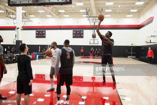 AlFarouq Aminu of the Portland Trail Blazers shoots the ball during an all access practice on December 7 2017 at the Trail Blazer Practice Facility...