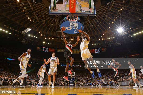 AlFarouq Aminu of the Portland Trail Blazers shoots the ball during the game against the Golden State Warriors on December 11 2017 at ORACLE Arena in...