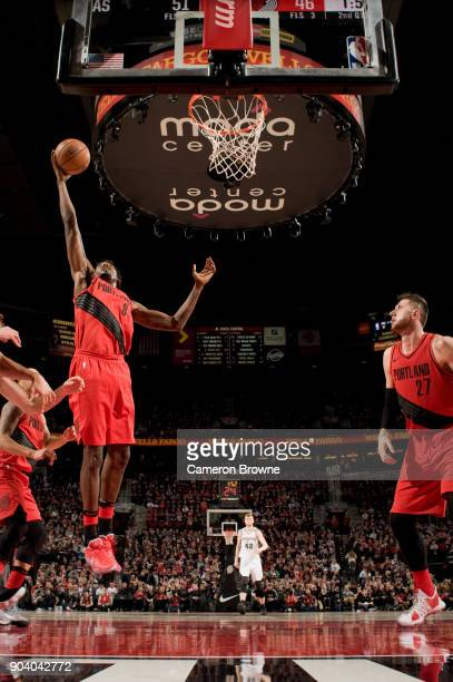 AlFarouq Aminu of the Portland Trail Blazers shoots the ball during the game against the San Antonio Spurs on January 7 2018 at the Moda Center Arena...