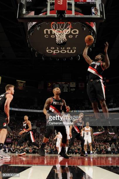 AlFarouq Aminu of the Portland Trail Blazers shoots the ball during the game against the Phoenix Suns on January 16 2018 at the Moda Center in...
