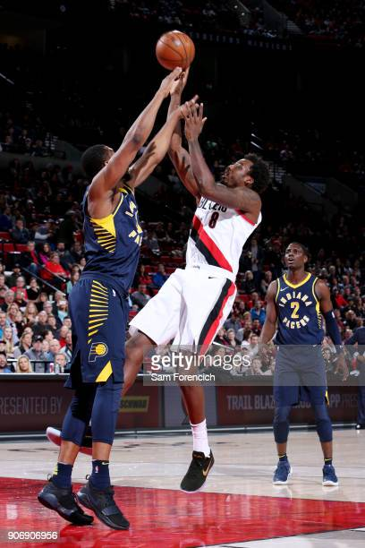 AlFarouq Aminu of the Portland Trail Blazers shoots the ball during the game against the Indiana Pacers on January 18 2018 at the Moda Center in...