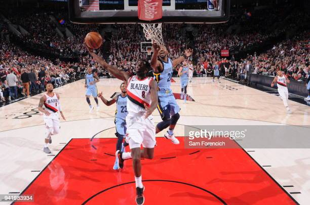 AlFarouq Aminu of the Portland Trail Blazers shoots the ball during the game against the Memphis Grizzlies on April 1 2018 at the Moda Center Arena...