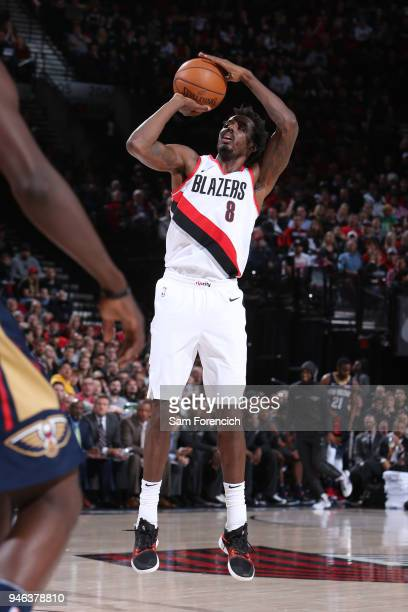 AlFarouq Aminu of the Portland Trail Blazers shoots the ball during the game against the New Orleans Pelicans in Game One of Round One of the 2018...