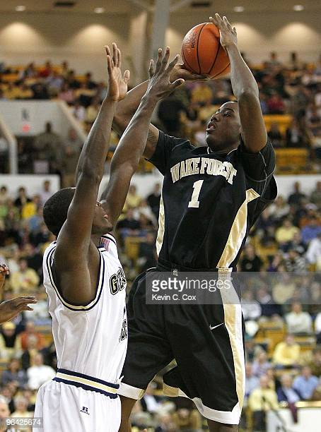 AlFarouq Aminu of the Wake Forest Demon Deacons against the Georgia Tech Yellow Jackets at Alexander Memorial Coliseum on January 28 2010 in Atlanta...