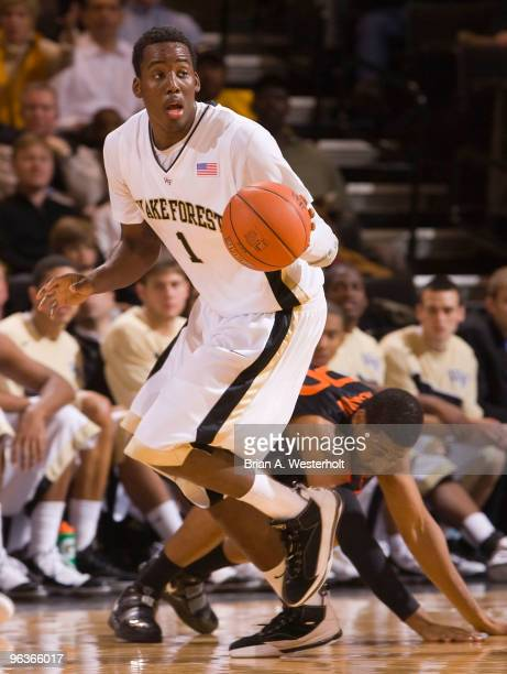 AlFarouq Aminu of the Wake Forest Demon Deacons looks to start a fast break after a Miami Hurricanes turnover on February 2 2010 in WinstonSalem...