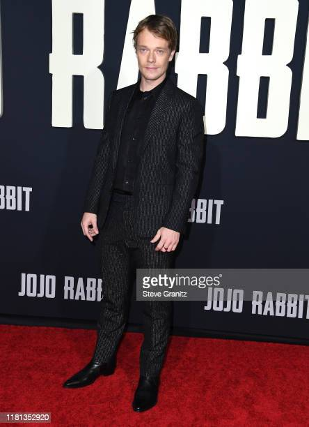 """Alfie Allen arrives at the Premiere Of Fox Searchlights' """"Jojo Rabbit"""" at Post 43 on October 15, 2019 in Los Angeles, California."""