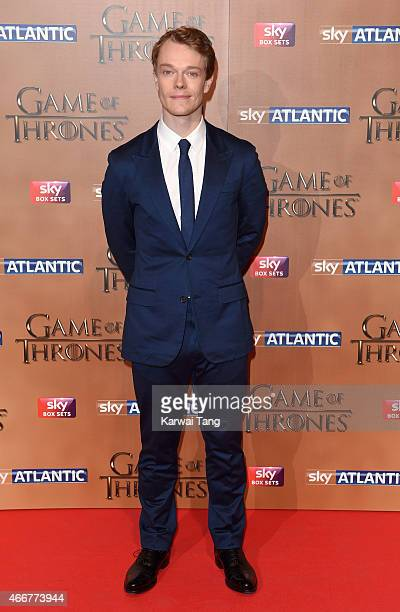 Alfie Allen arrives for the world premiere of Game of Thrones Season 5 at Tower of London on March 18 2015 in London England