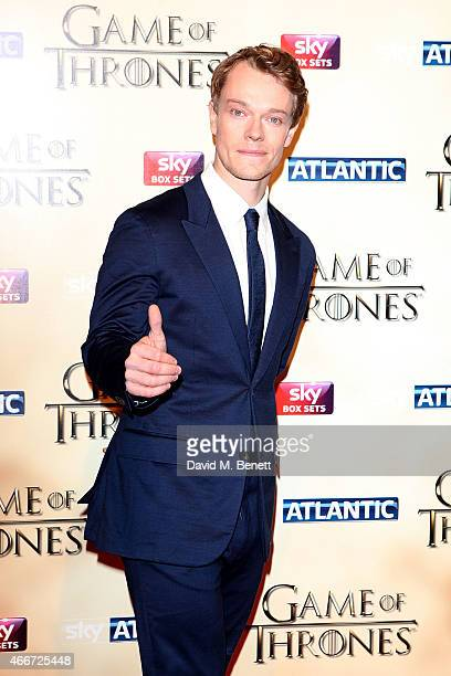 """Alfie Allen attends the World Premiere of """"Game Of Thrones: Season 5"""" at the Tower of London on March 18, 2015 in London, England."""