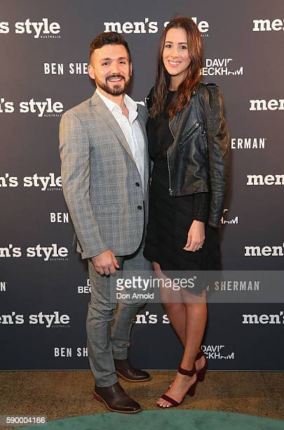 Alfie Arcuri and Vanessa Stallone arrive at the Men's Style 2016 Men of Style at Alpha Restaurant on August 16 2016 in Sydney Australia