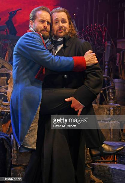 Alfie Boe and Michael Ball attend the press night performance of Les Miserables The Staged Concert at The Gielgud Theatre on August 21 2019 in London...