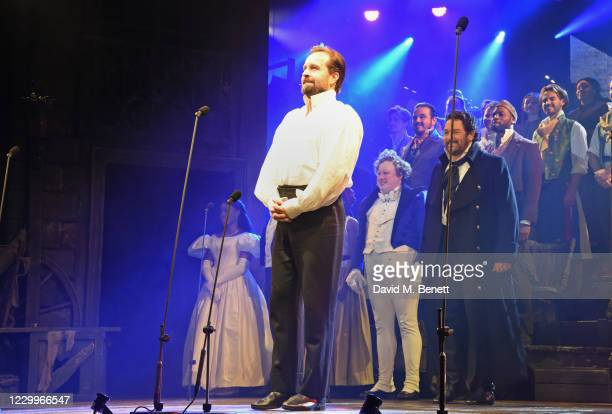 """Alfie Boe bows at the curtain call during the return of """"Les Miserables: The Staged Concert"""" to London's West End following the Covid-19 pandemic at..."""