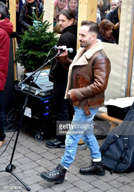 Alfie Boe Busks at St Ann's Square to celebrate the festive season on November 23 2018 in Manchester England